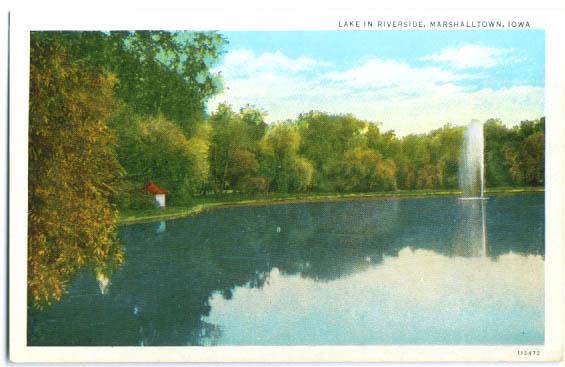 Lake in Riverside Marshalltown IA postcard
