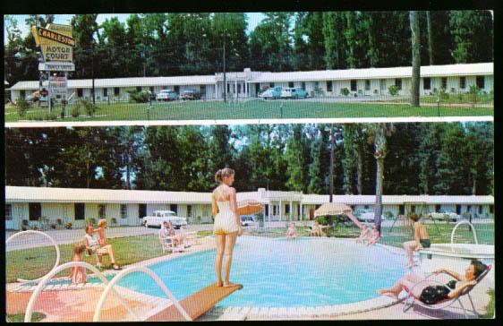 Pool Charleston Motor Court SC postcard 1950s