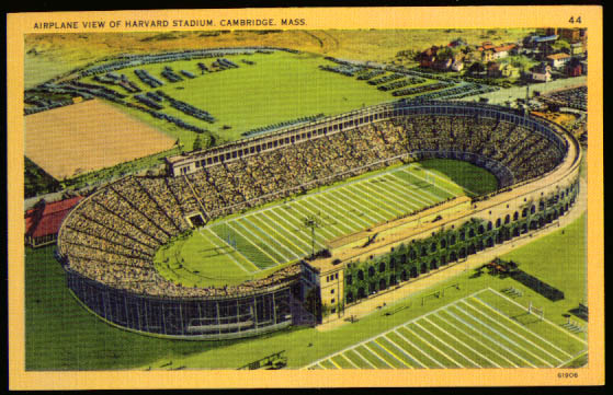 Airplane view Harvard Stadium MA postcard