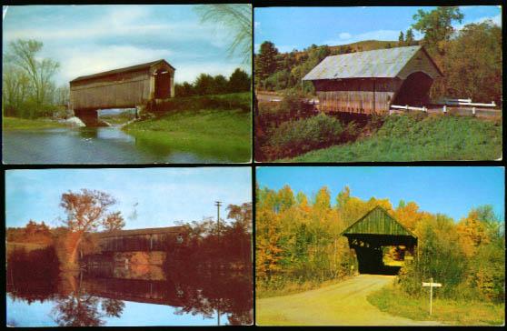 4 Vermont Covered Bridge postcard lot #5 1950s