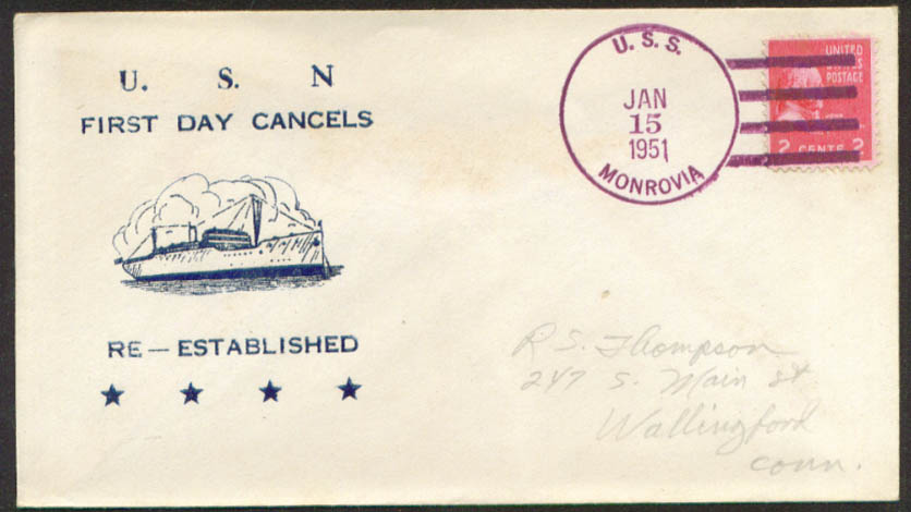 Image for USS Monrovia APA-31 1st Day Re-Commission cover 1951
