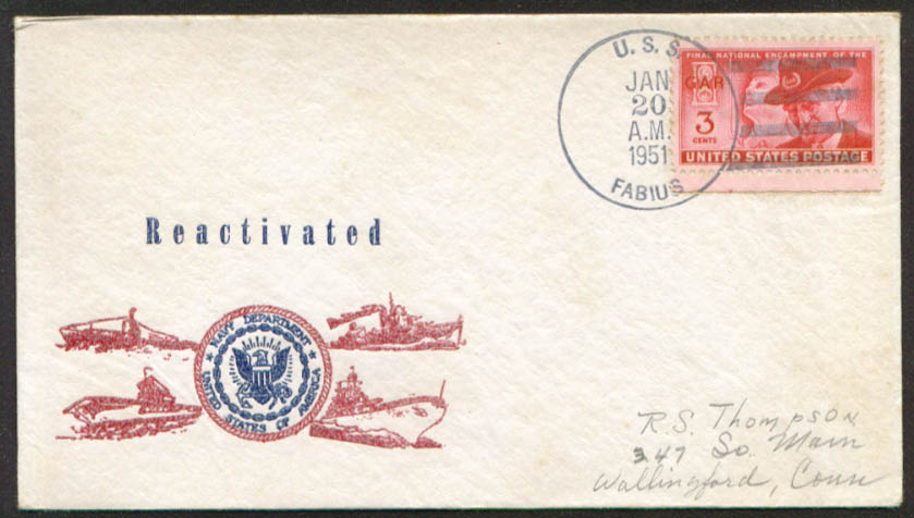 USS Fabius ARV-5 1st Day Re-Commission cover 1951