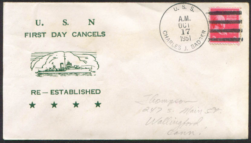 USS Charles J Badger 1st Day Re-Commission cover 1951