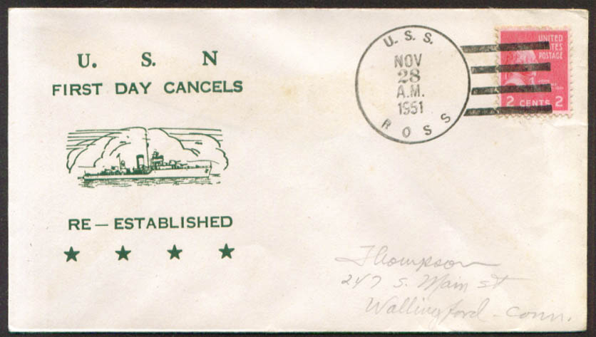Image for USS Ross DD-563 1st Day Re-Commission cover 1951