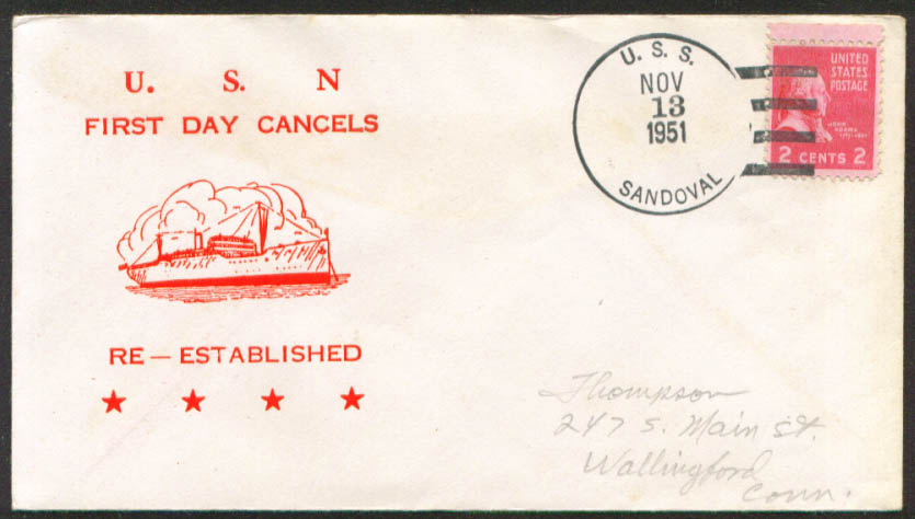 USS Sandoval APA-194 1st Day Re-Commission cover 1951