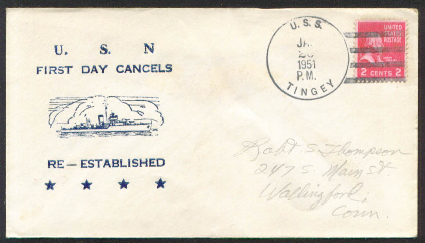 Image for USS Tingey DD-539 1st Day Re-Commission cover 1951