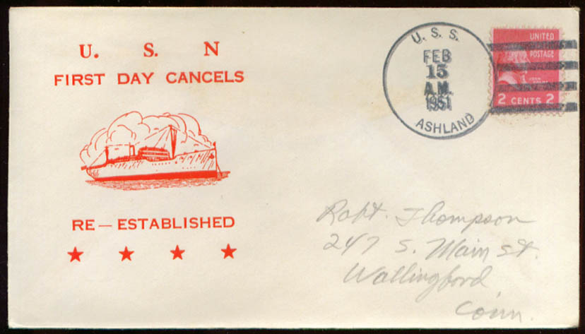 USS Ashland LSD-1 1st Day Re-Commission cover 1951