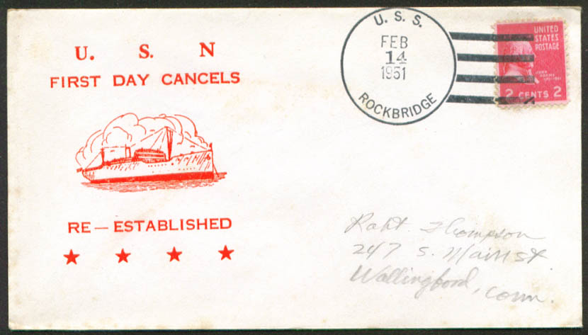 Image for USS Rockbridge APA-228 1st Day Re-Commission cover 1951