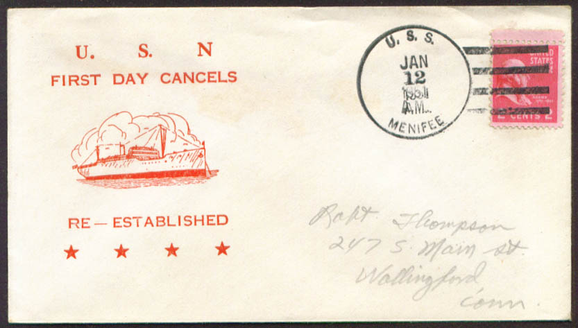Image for USS Menifee APA-202 1st Day Re-Commission cover 1951