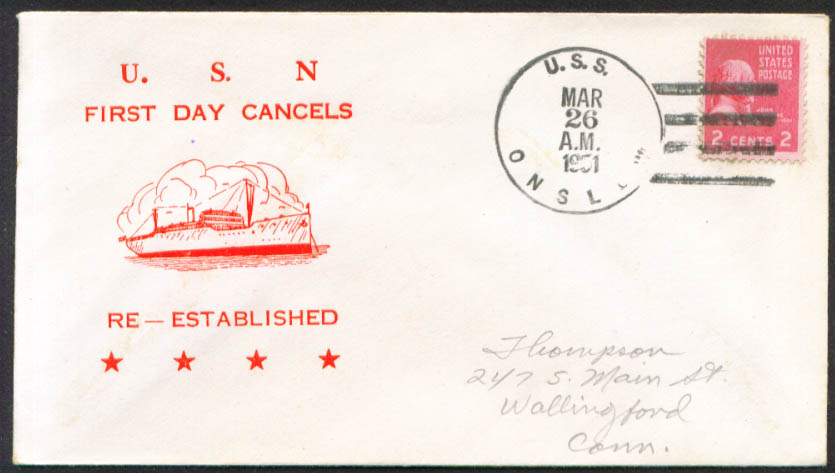 Image for USS onslow AVP-48 1st Day Re-Commission cover 1951