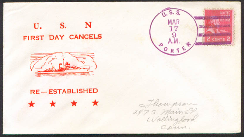 Image for USS Porter DD-356 1st Day Re-Commission cover 1951