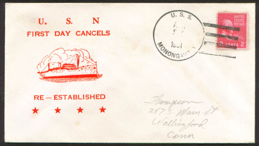 Image for USS Monogahela AO-178 1st Day Re-Commission cover 1951