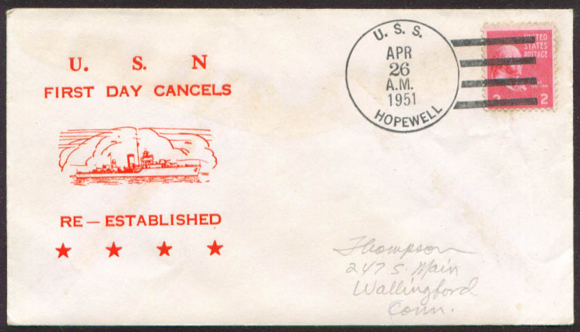 Image for USS Hopewell DD-681 1st Day Re-Commission cover 1951