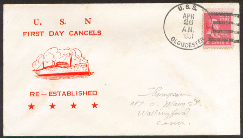 Image for USS Gloucester PF-22 1st Day Re-Commission cover 1951