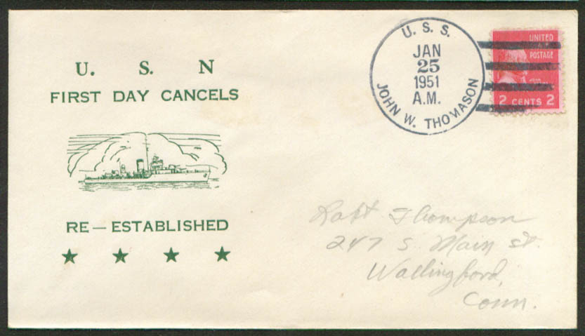 Image for USS John W Thomason 1st Day Re-Commission cover 1951