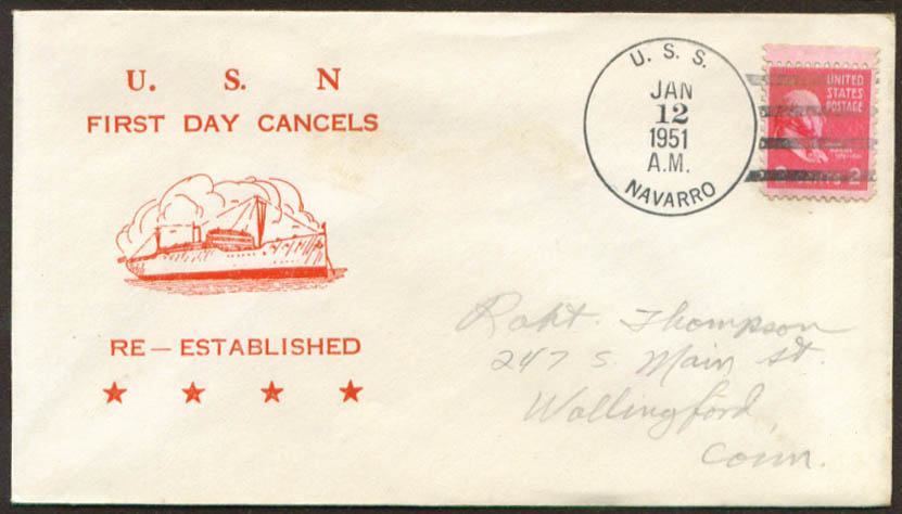 Image for USS Navarro APA-215 1st Day Re-Commission cover 1951