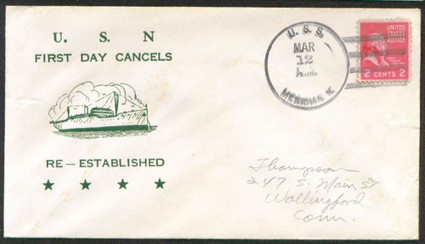 Image for USS Merrimack AO-179 1st Day Re-Commission cover 1951