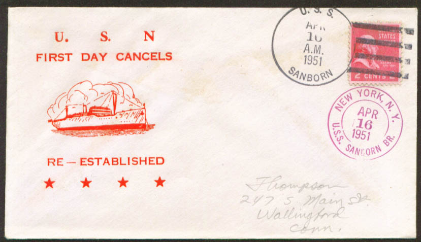 Image for USS Sanborn APA-193 1st Day Re-Commission cover 1951