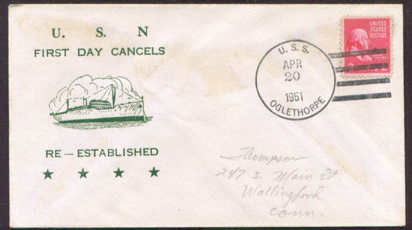 Image for USS Oglethorpe AKA-100 1st Day Re-Commission cover 1951