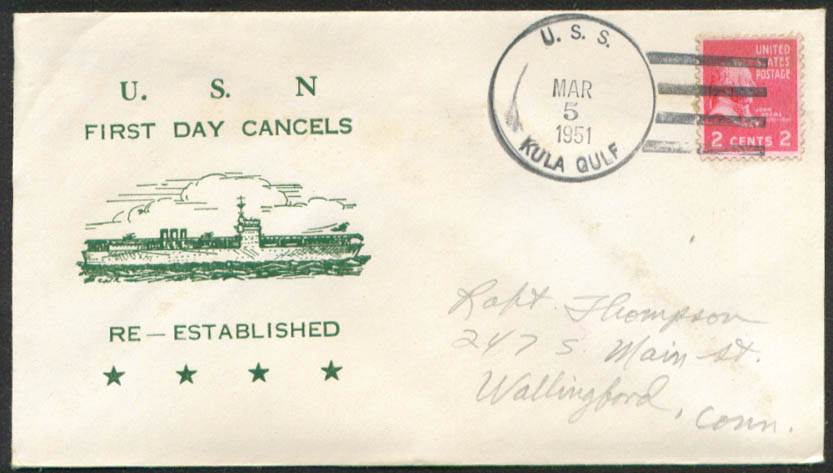 Image for USS Kula Gulf CVE-108 1st Day Re-Commission cover 1951