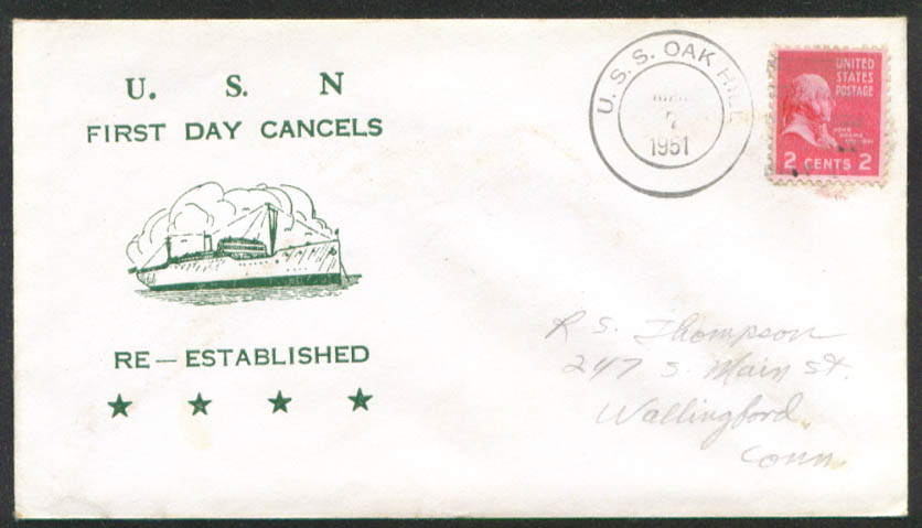 USS Oak Hill LSD-51 1st Day Re-Commission cover 1951