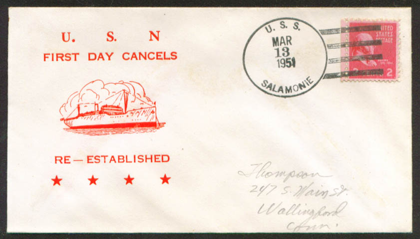 Image for USS Salamone AO-26 1st Day Re-Commission cover 1951