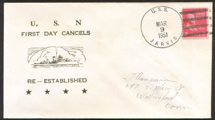 Image for USS Jarvis DD-393 1st Day Re-Commission cover 1951