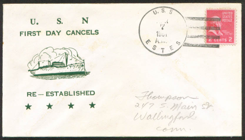 Image for USS Estes AGC-12 1st Day Re-Commission cover 1951