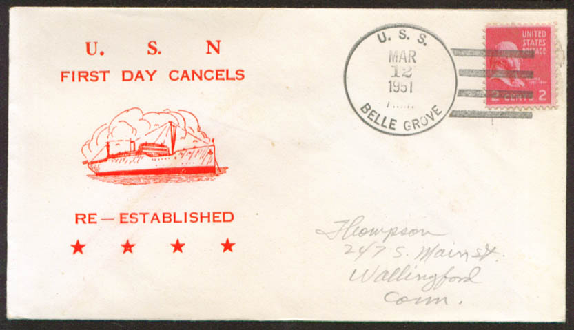 USS Belle Grove LSD-2 1st Day Re-Commission cover 1951