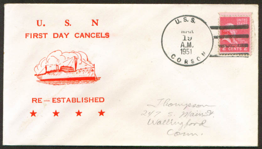 USS Corson AVP-37 1st Day Re-Commission cover 1951