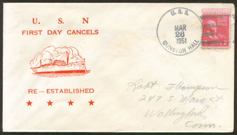 Image for USS Gunston Hall LSD-5 1st Day Re-Commission cover 1951