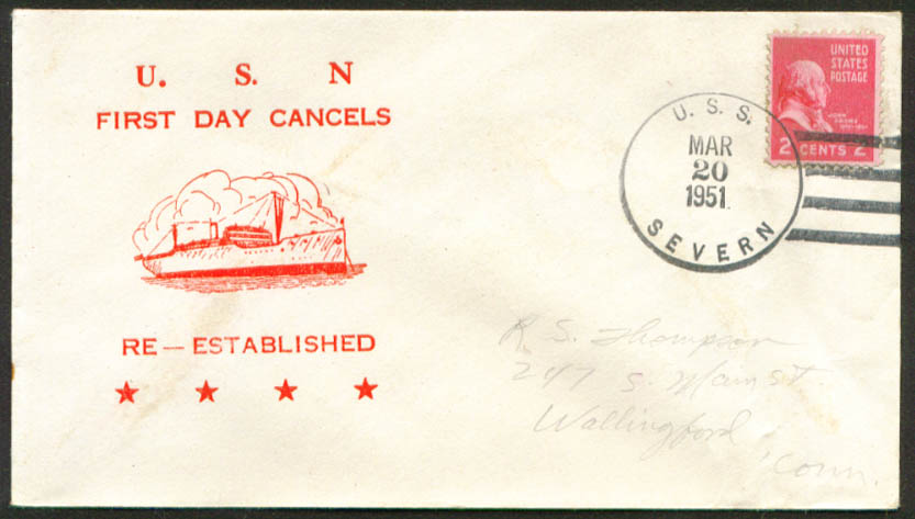 Image for USS Severn AO-61 1st Day Re-Commission cover 1951