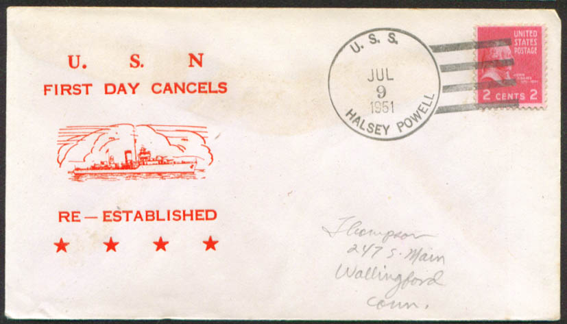 Image for USS Halsey Powell 1st Day Re-Commission cover 1951