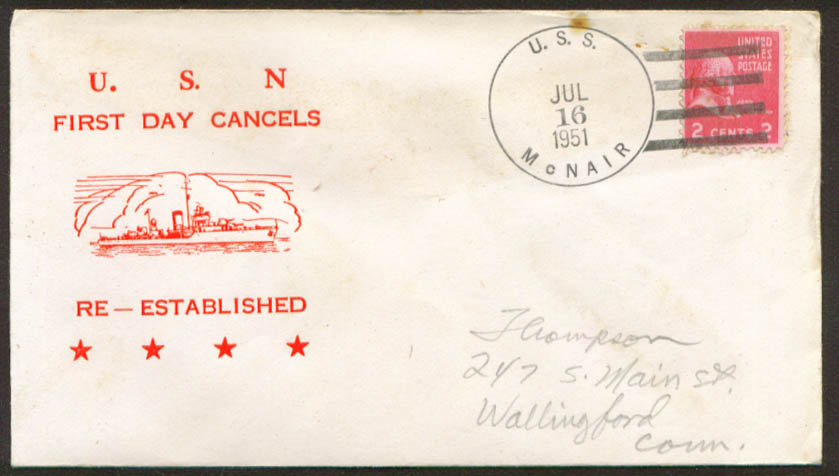 Image for USS McNair DD-679 1st Day Re-Commission cover 1951