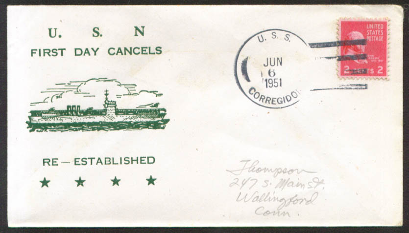 USS Corregidor CVE-58 1st Day Re-Commission cover 1951