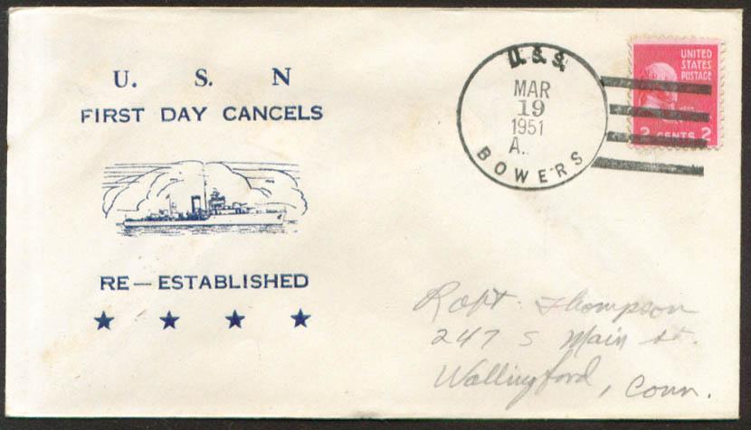 USS Bowers DE-637 1st Day Re-Commission cover 1951