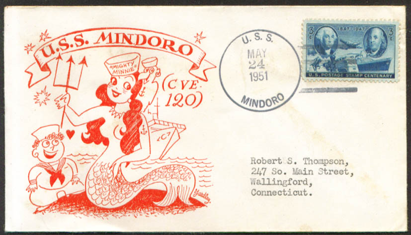 USS Mindoro Aircraft Carrier CVE-120 cover 1951