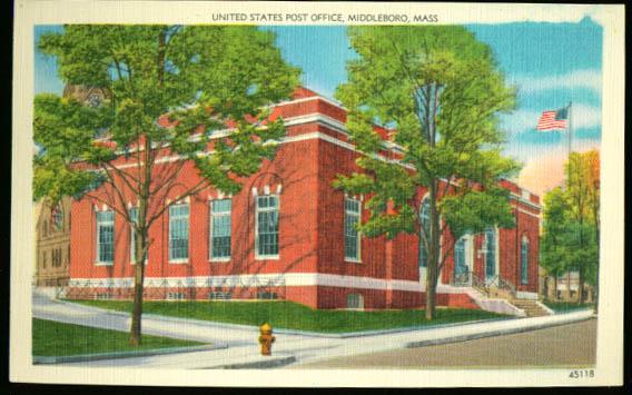 U S Post Office Middleboro MA postcard 1940s