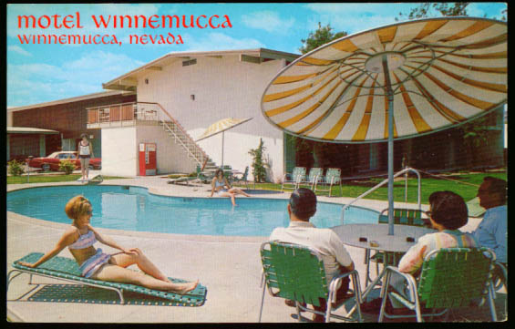 Pool Hotel Winnemucca NV postcard 1960s