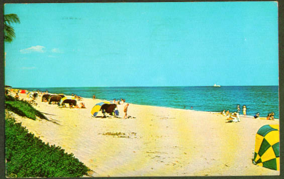 1 mile of sand Delray Beach FL postcard 1959