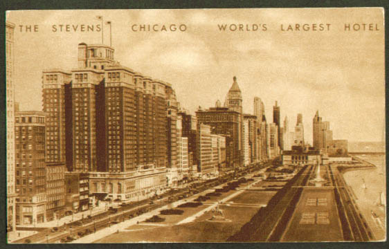 Stevens Hotel Chicago IL postcard 1939