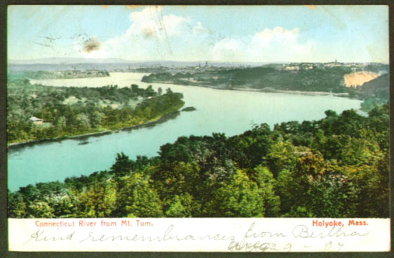 Holyoke MA from Mt Tom undivided back postcard 1907