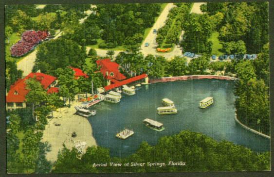 Aerial view Silver Springs FL postcard 1952