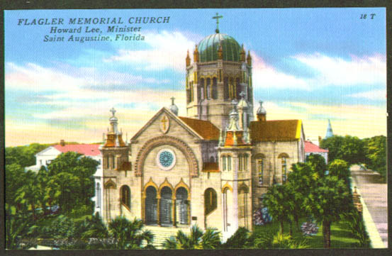 Flagler Memorial Church St Augustine FL postcard 1940s