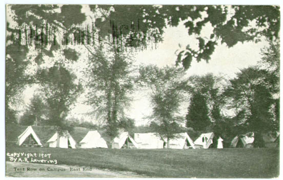 Campus tents East Northfield MA postcard 1911