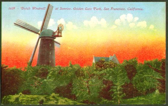 Windmill Glden Gate Park San Francisco postcard 1910s