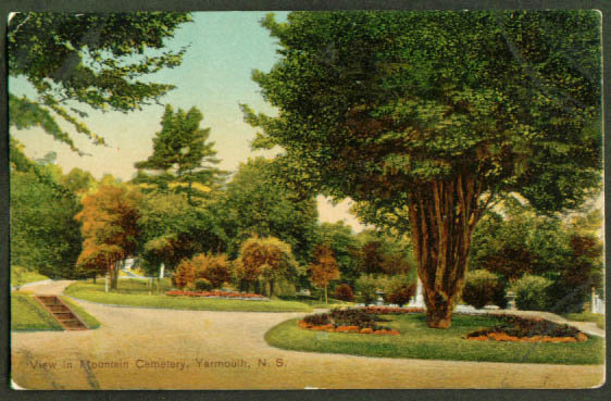 Mountain Cemetery Yarmouth NS postcard 1910s