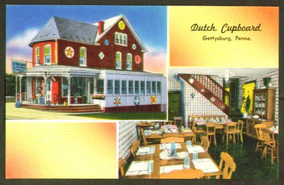 Dutch Cupboard Gettysburg PA postcard 1940s