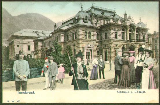 Town Hall & Theatre Innsbruck postcard 1910s