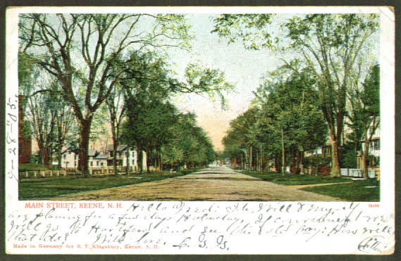 Main Street Keene NH undivided back postcard 1905